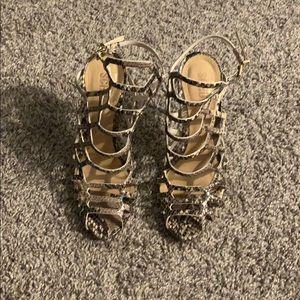 Schultz snake print heels